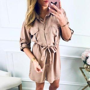 Belted Adjustable Button Long Sleeve Shirt Dress